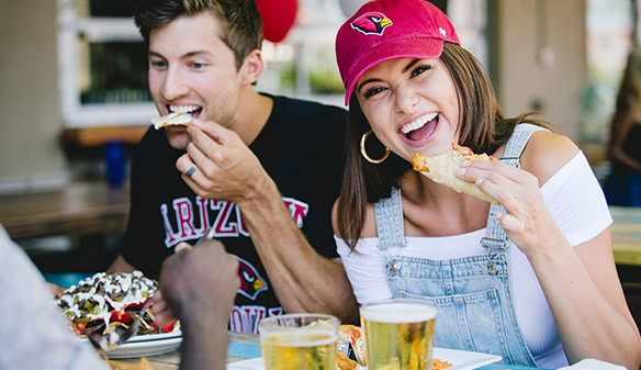 Eating at football game