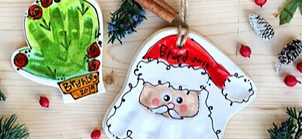 Santa + Cactus Hand Print Ornaments