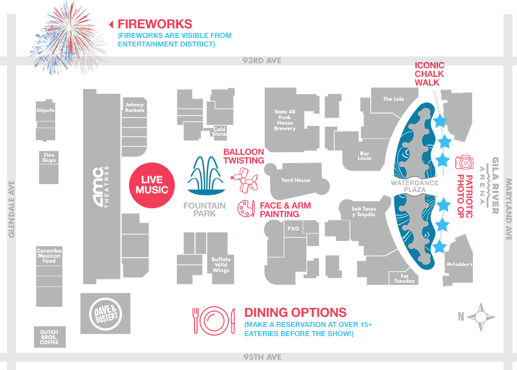 4th of July Fireworks Map