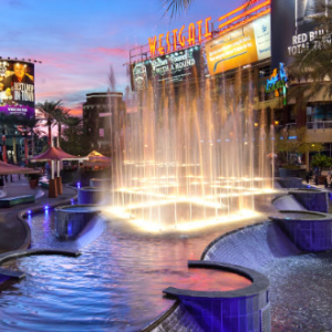 Visit the WaterDance Plaza at Westgate Entertainment District